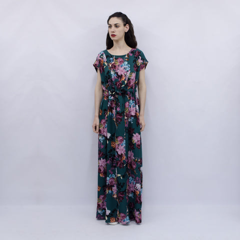 Maxi Dress Hina in Green Floral Viscose