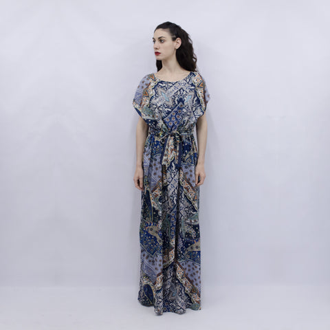 Maxi Dress Hina in Navy Blue Paisley Viscose
