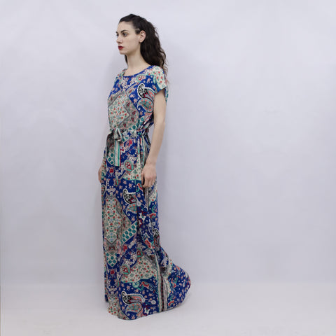 Maxi Dress Hina in Cobalt Blue Paisley Viscose