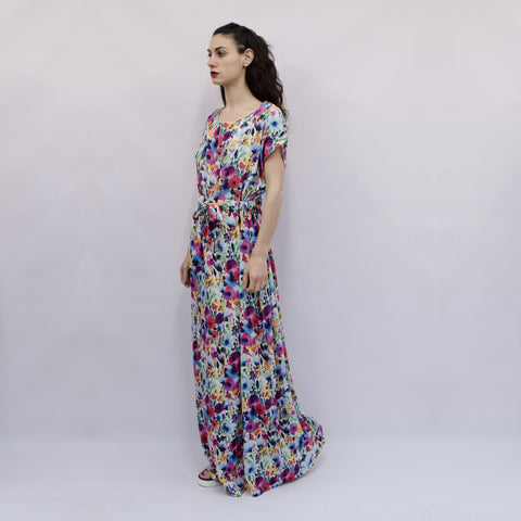 Maxi Dress Hina in Watercolor Floral Viscose