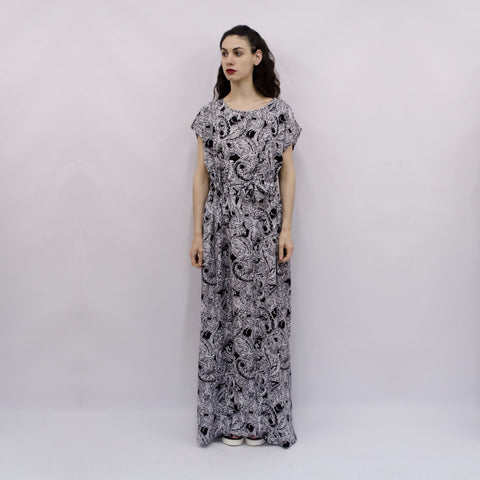 Maxi Dress Hina in Black & White Paisley Viscose