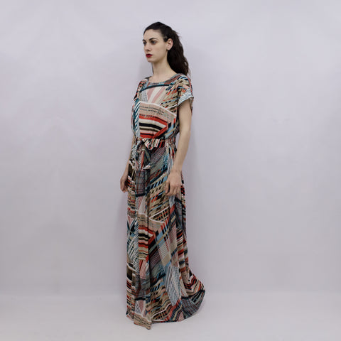 Maxi Dress Hina in Geometric Elastic Viscose