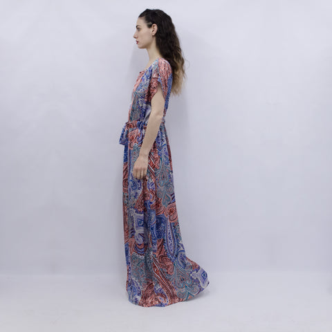 Maxi Dress Hina in Mosaic Paisley Silky Satin