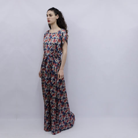 Maxi Dress Hina in Floral Silky Satin