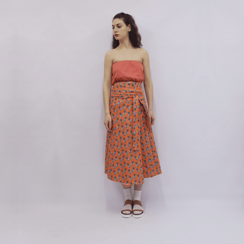 Skirt Ichiro in Cotton Poplin Orange Pineapples