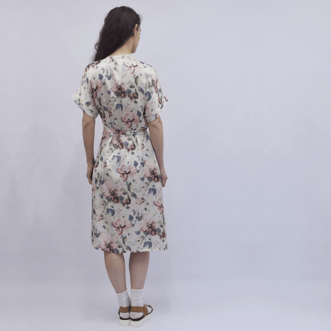 Dress Kimono in Ecru Floral Silky Satin