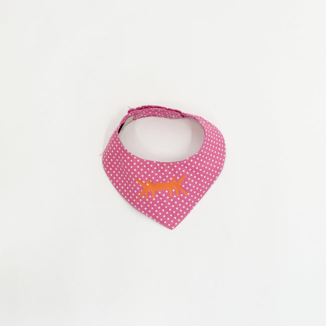 Doggy Scarf in Cotton Poplin Magenta Polka Dots
