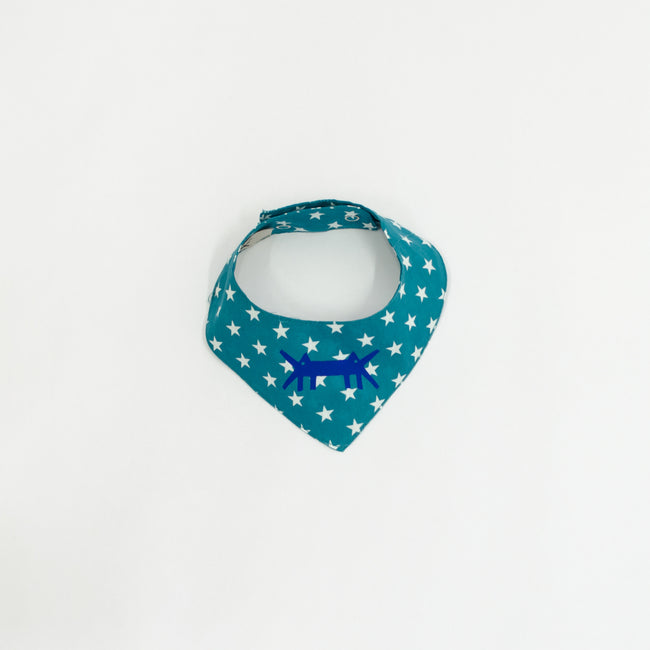 Doggy Scarf in Cotton Poplin Teal Polka Star