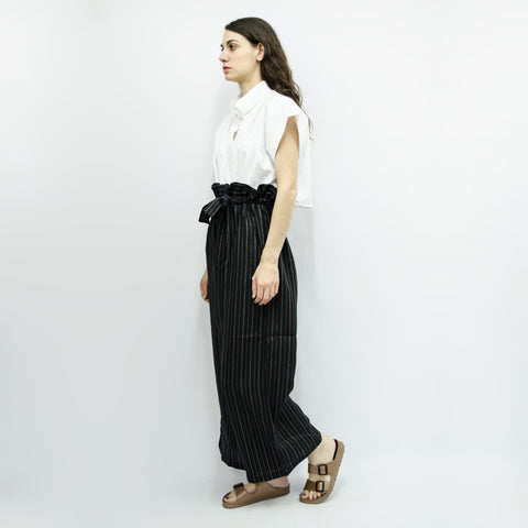 Long Wide Leg Trousers Hiraku in Black Stripe Linen