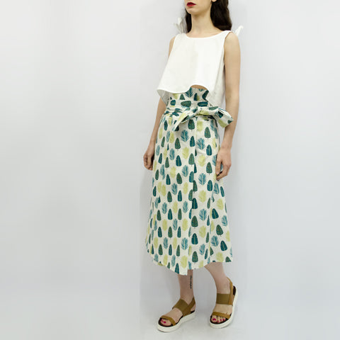 Skirt Ichiro in Green Leaves Pattern