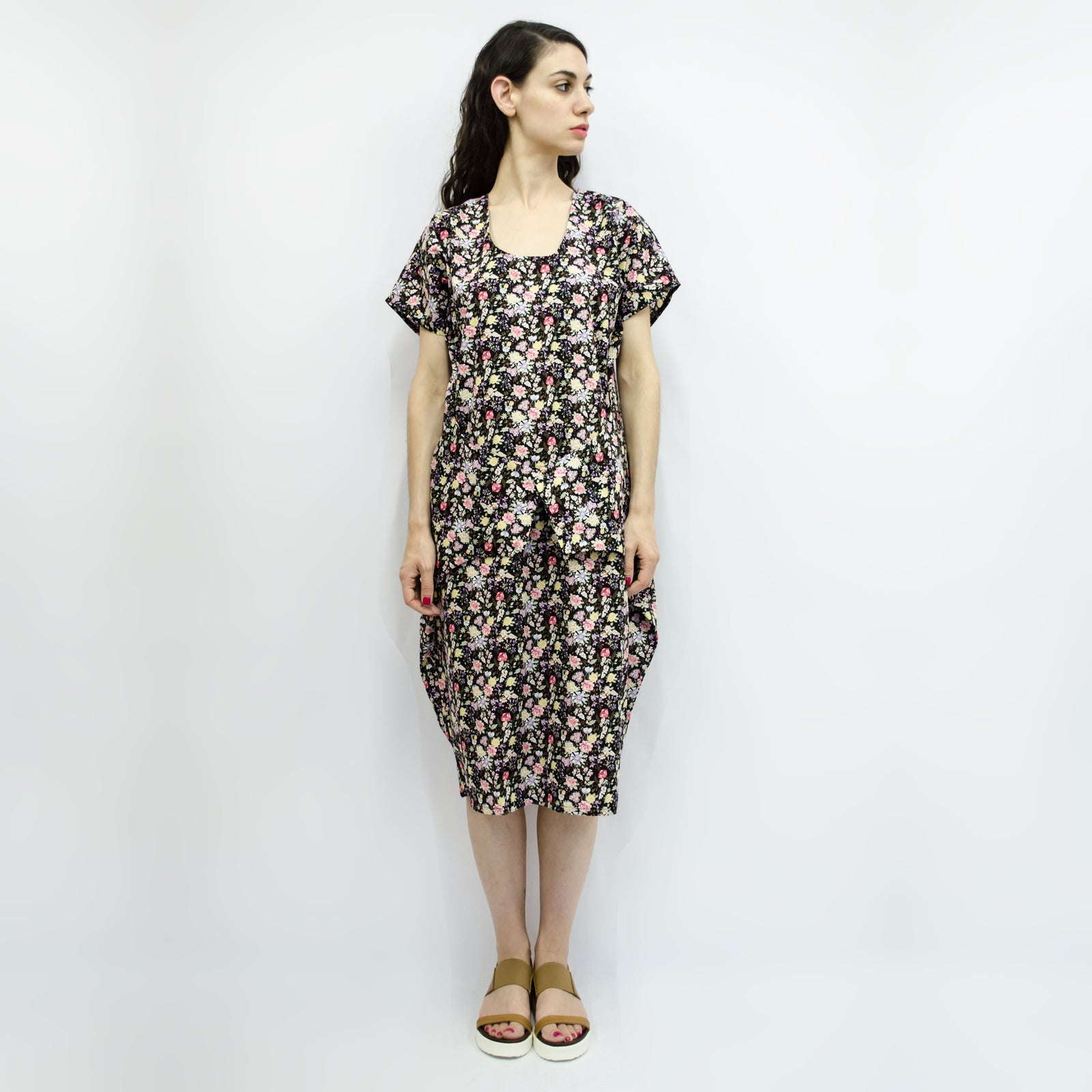 Dress Love Pocket in Cotton Black Floral