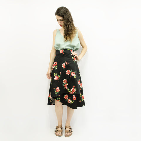 Skirt Milo in Cotton Gabardine Floral Colors