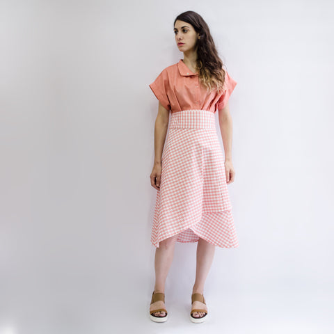 Skirt Milo in Cotton Poplin Coral Cloudy Pattern