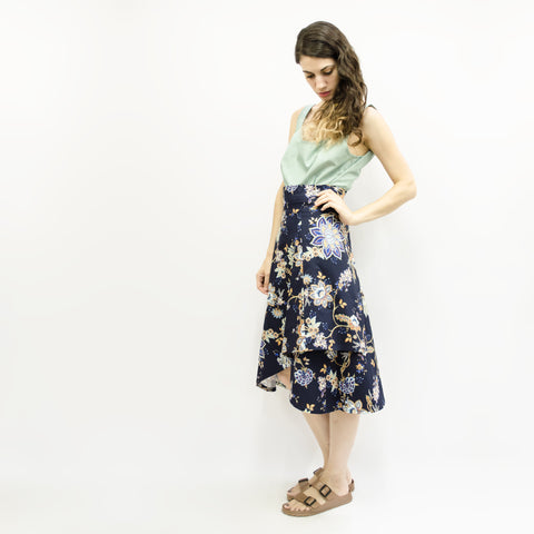 Skirt Milo in Cotton Gabardine Paisley Floral Colors