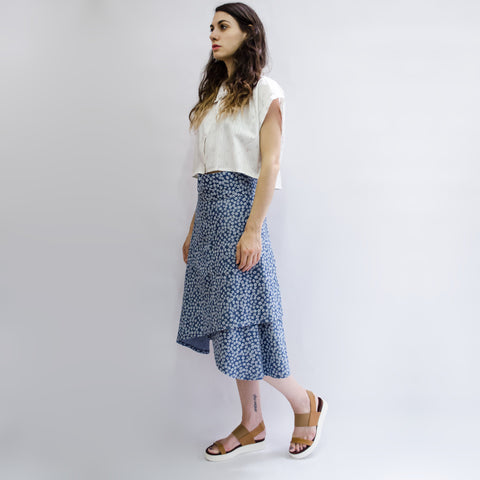 Skirt Milo in Cotton Denim Floral
