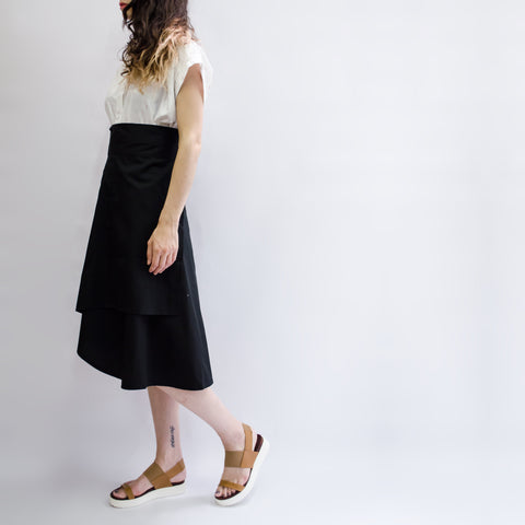 Skirt Milo in Cotton Poplin Black