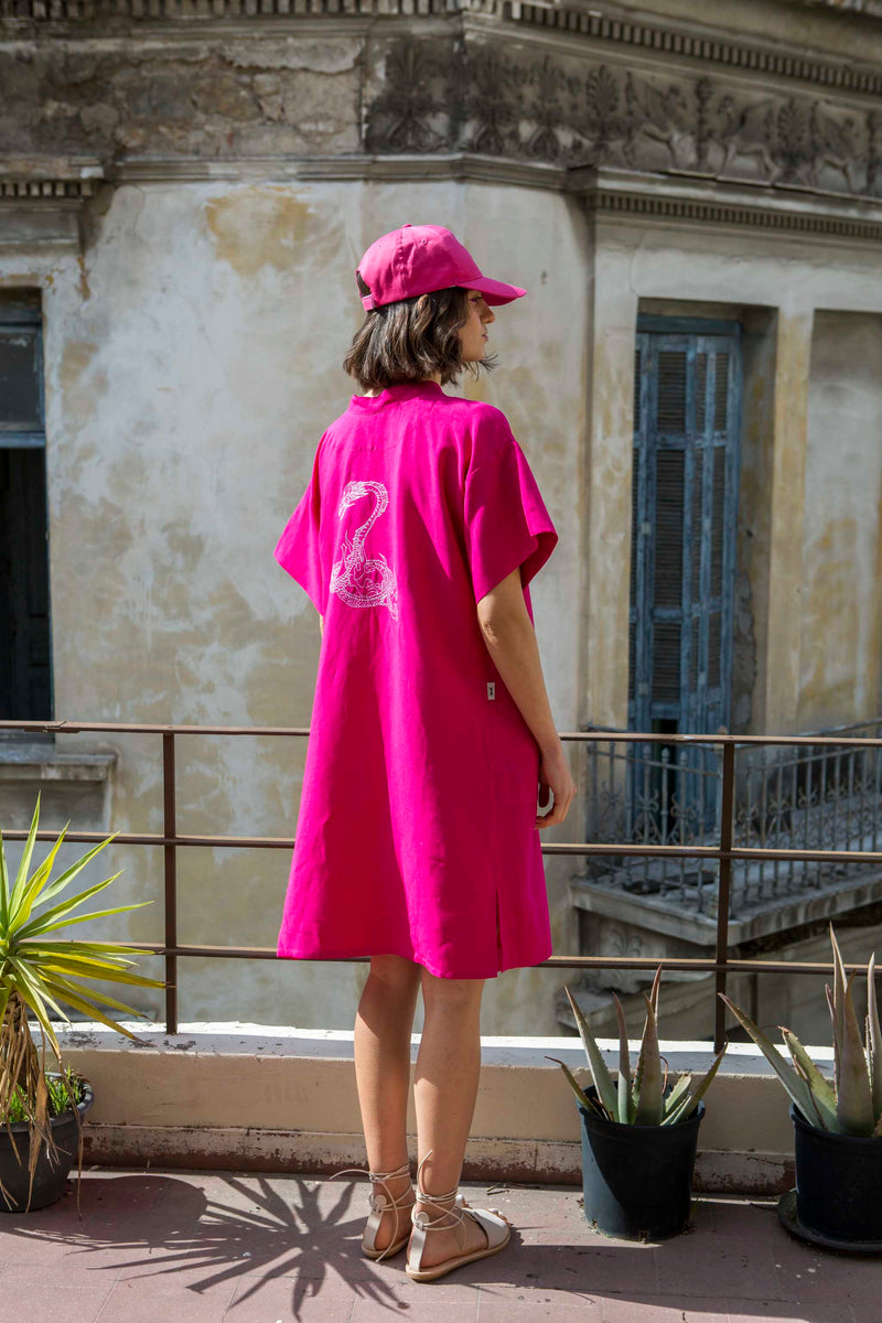 DRESS KIMONO DRAGON MIDI * BRILLIANT FUSCHIA