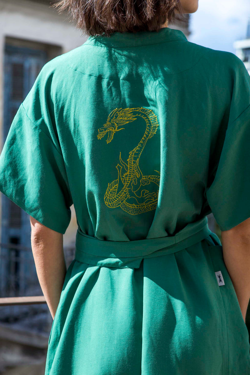 DRESS KIMONO DRAGON MAXI * EMERALD GREEN