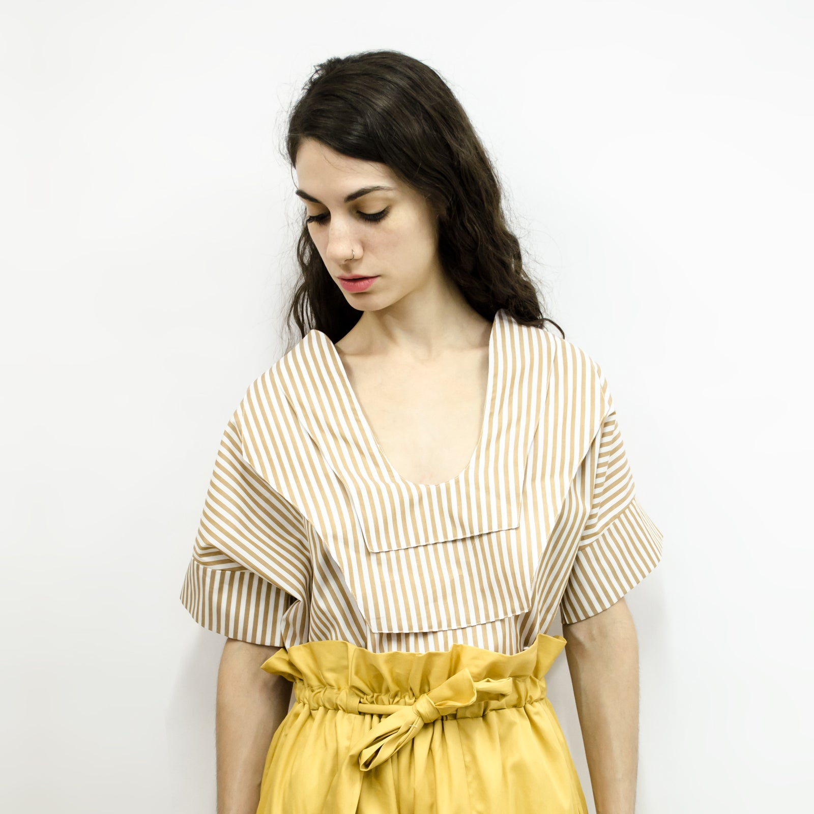 Shirt Seeraa in Cotton Poplin Mustard Yellow Stripes