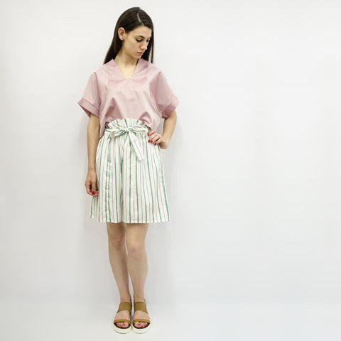 Wide Shorts Hiraku in Cotton Stripe Colors