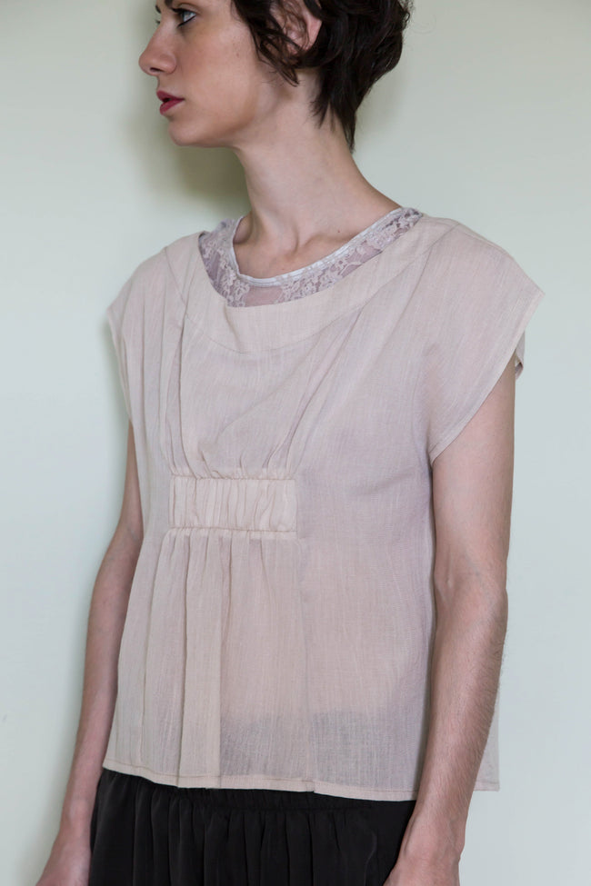Top Ayame in Beige Cotton Gauze