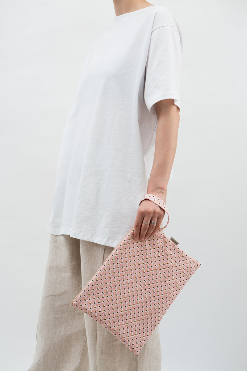 Big Pouch in  Pink Japanese Paper Fans
