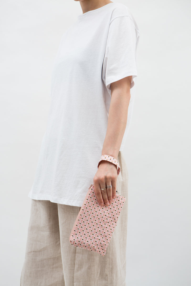 Medium Pouch in Pink Japanese Paper Fans