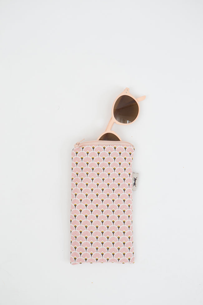 Sunglasses Pouch in Pink Japanese Paper Fans