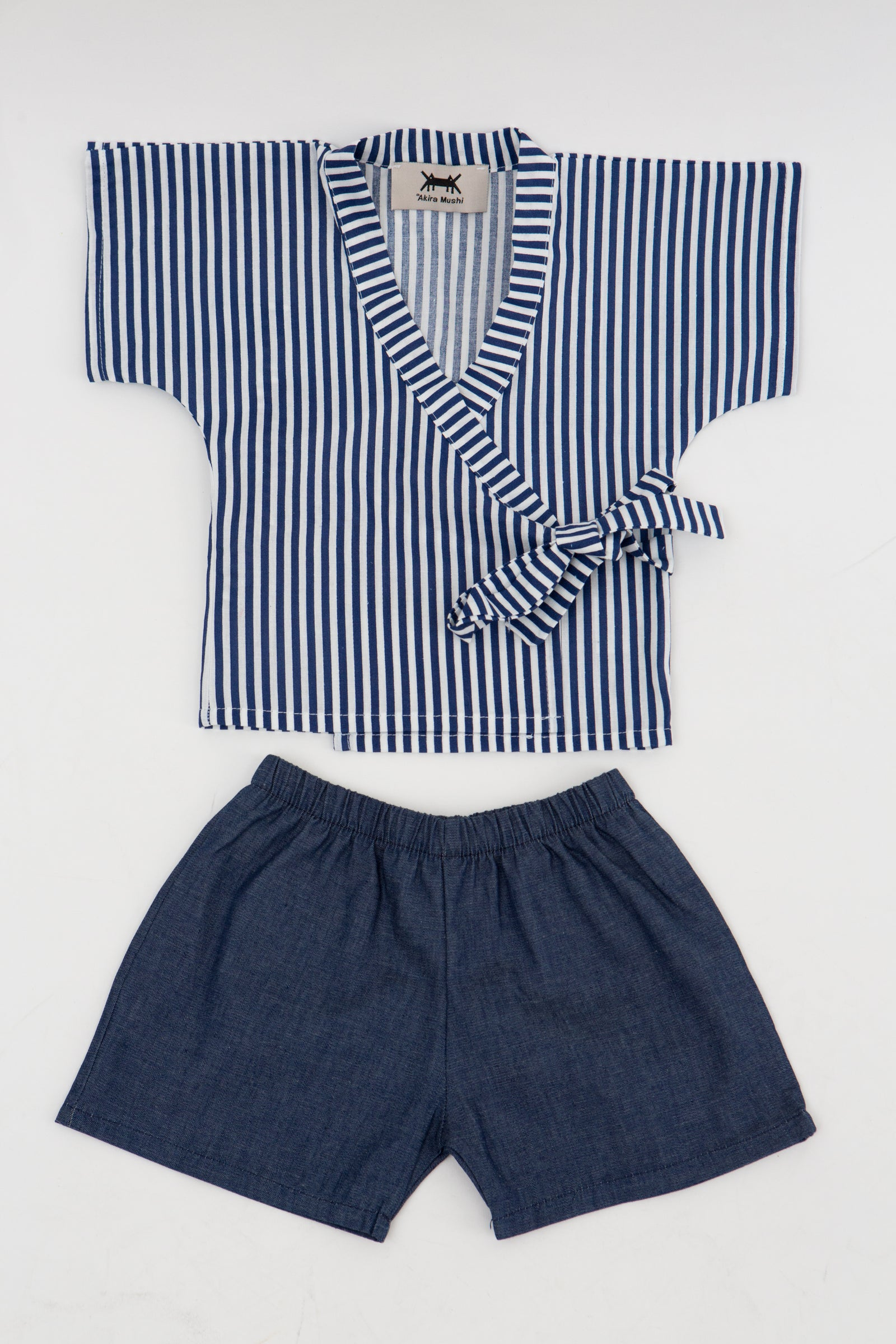 Baby Kimono Set in Cotton/Denim Combo