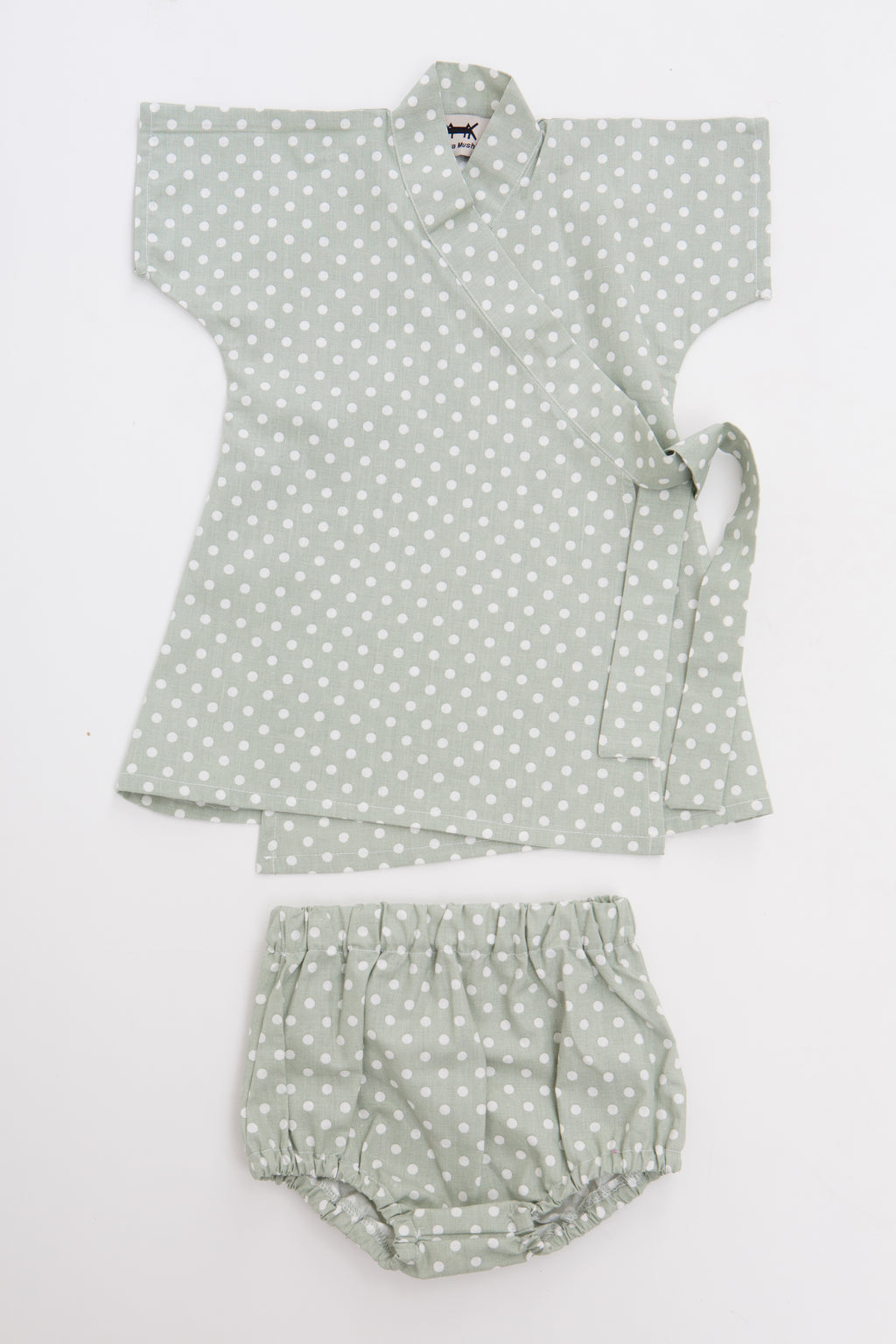 Baby Kimono Dress in Mint Polka Dots