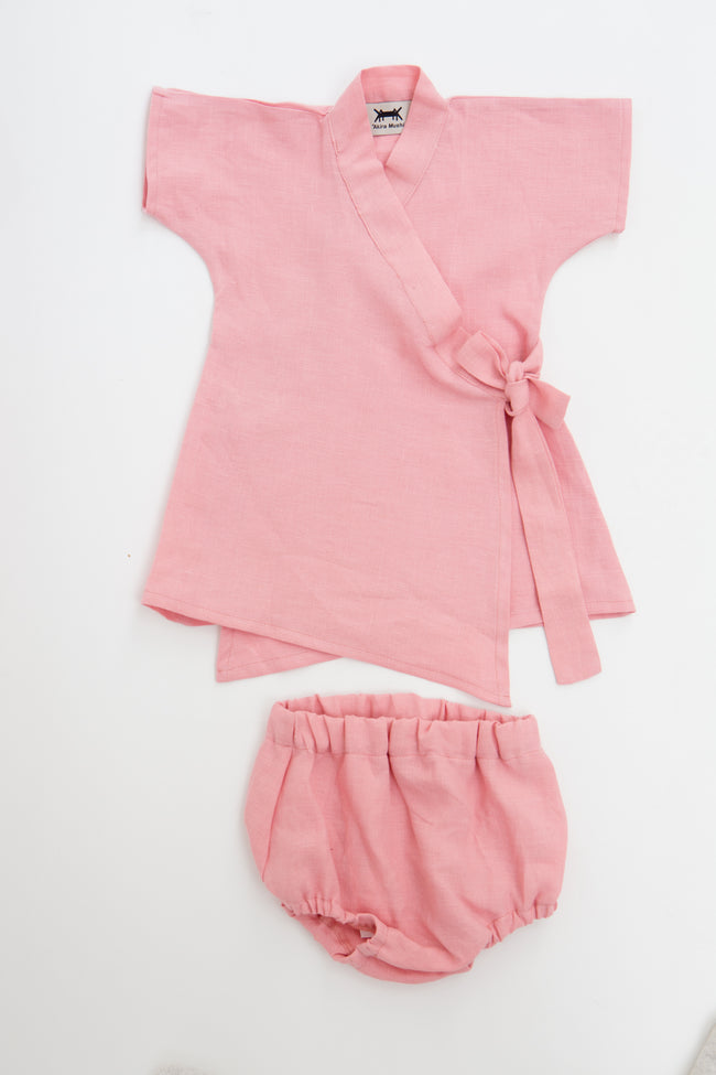 Baby Kimono Dress in Pink Linen