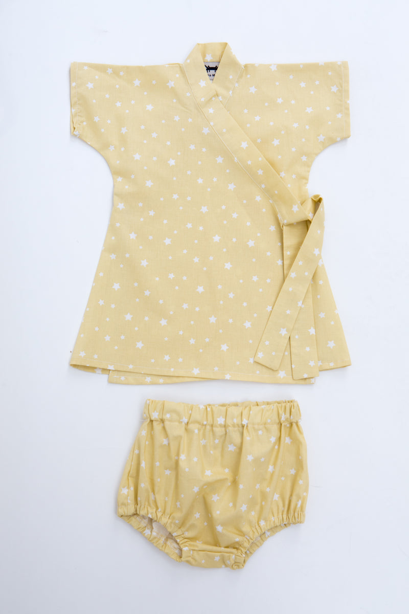 Baby Kimono Dress in Yellow Stars
