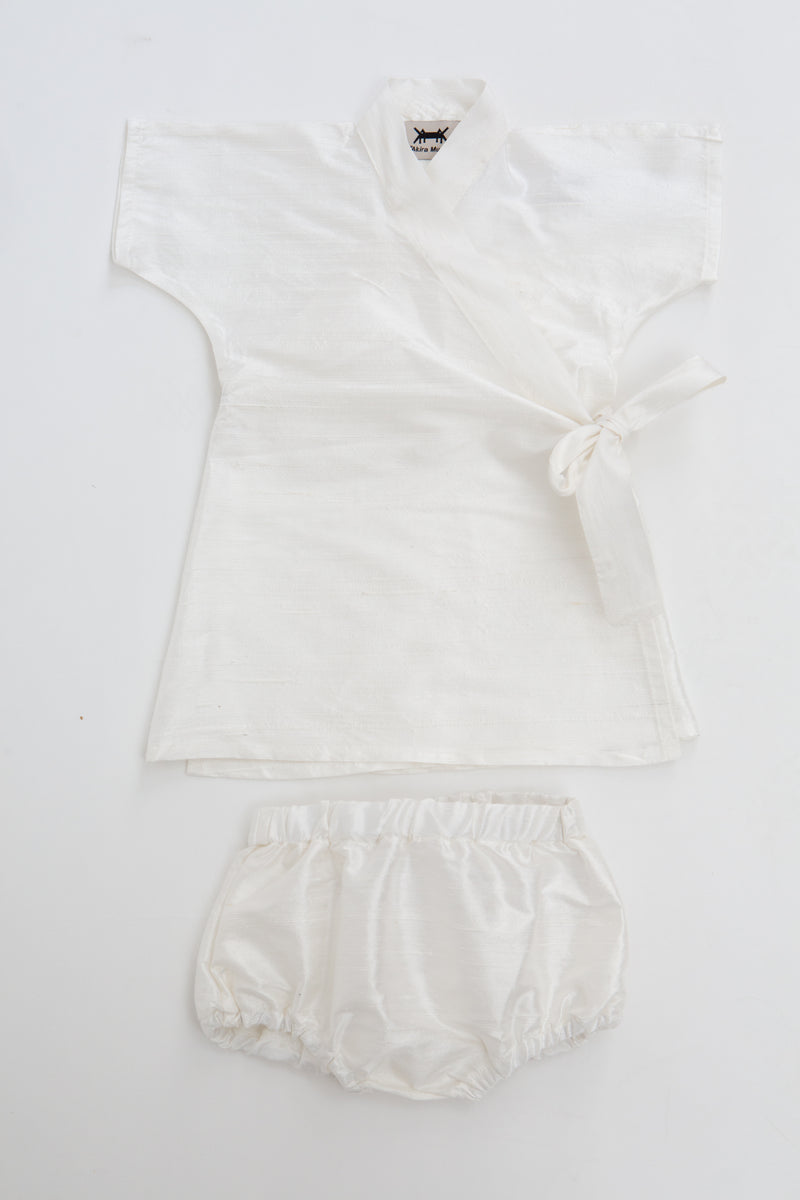 BABY KIMONO DRESS SET * WHITE SILK