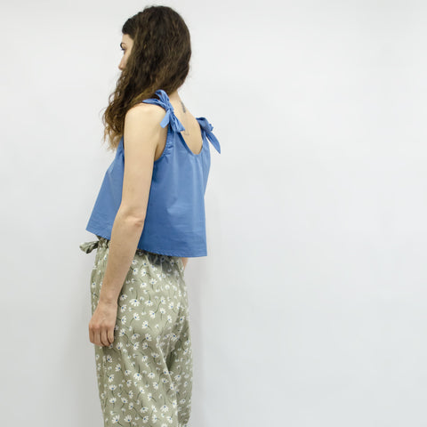 Wide Leg Trousers Hiraku in Pistachio Floral Cotton Gabardine