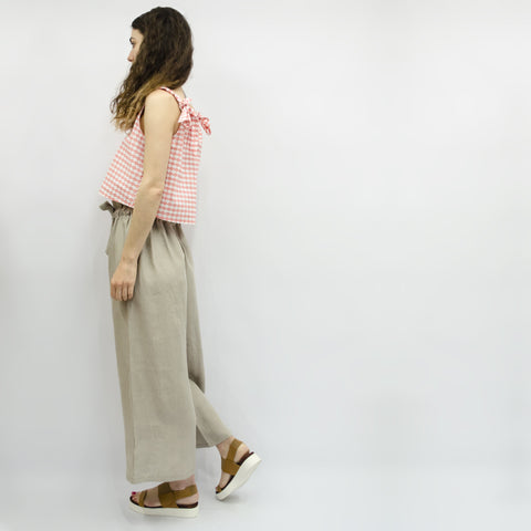 Wide Leg Trousers Hiraku in Linen Elephant Lurex