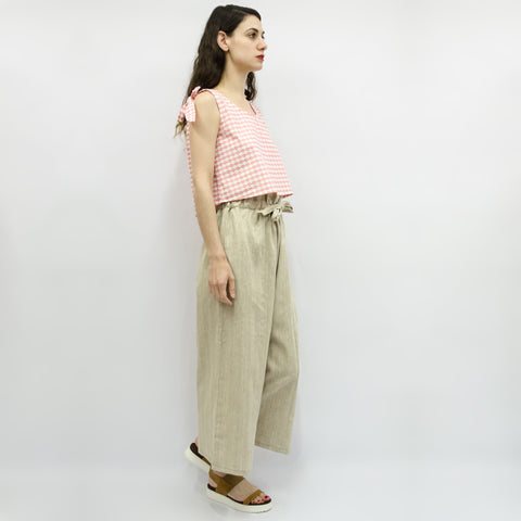 Wide Leg Trousers Hiraku in Linen Beige Lurex