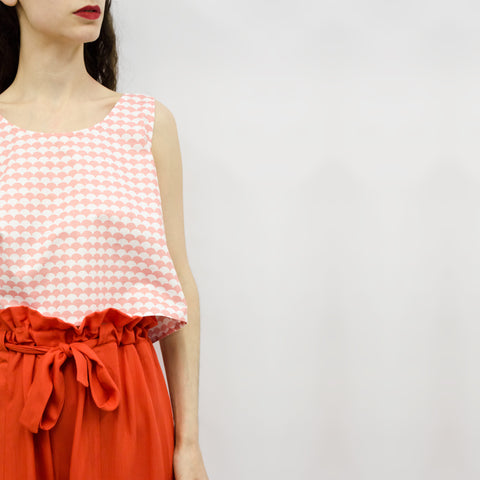 Wide Leg Trousers Hiraku in Coral Red Viscose