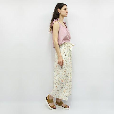 Wide Leg Trousers Hiraku in Ecru Floral Cotton