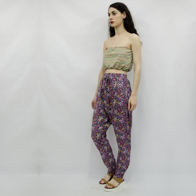 Trousers Keiko in Floral Viscose Gabardine