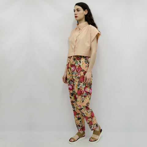 Trousers Keiko in Salmon Floral Crepe