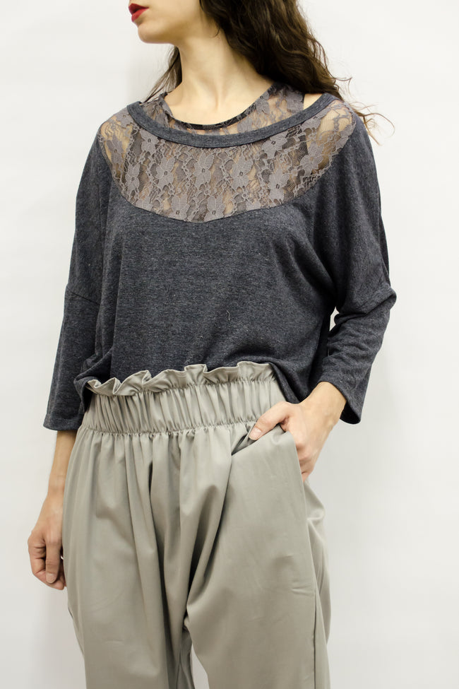Cropped Top Maru in Viscose Jersey & Lace Colors