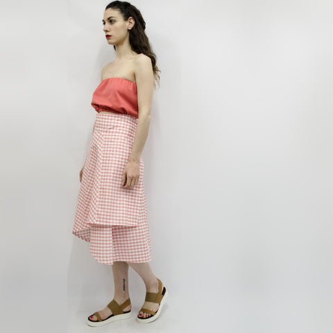 Skirt Milo in Coral Pink Cloudy Pattern