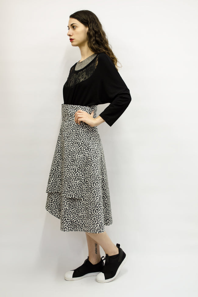 Skirt Milo in Cotton Gabardine Black & White Animal Print