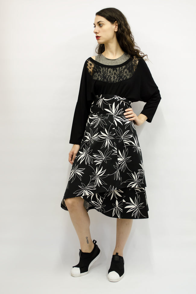Skirt Milo in Cotton Gabardine Black & White Floral