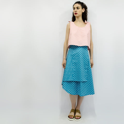 Skirt Milo in Blue Polka Dots Pattern