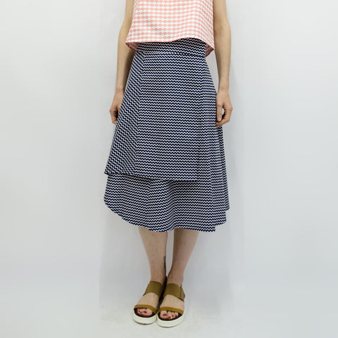 Skirt Milo in Navy Blue Wave Pattern