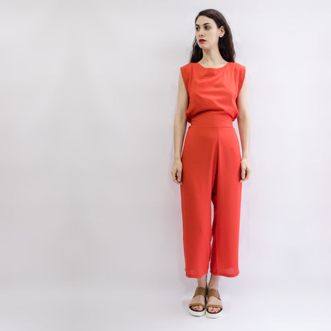 Jumpsuit Nishi Coral Red Viscose