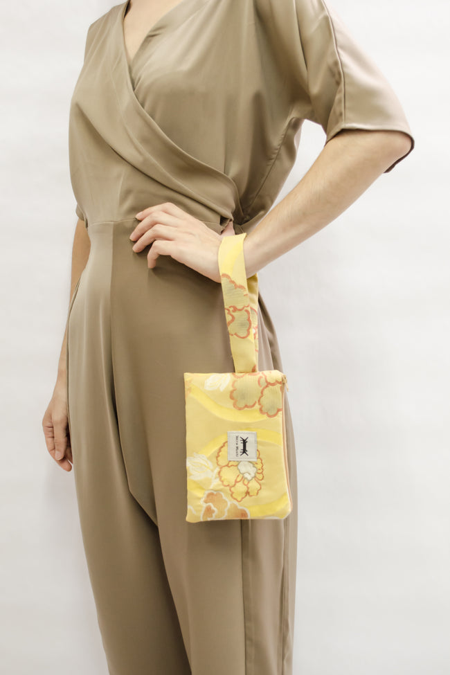 Pouch Midi in Yellow Japanese Floral