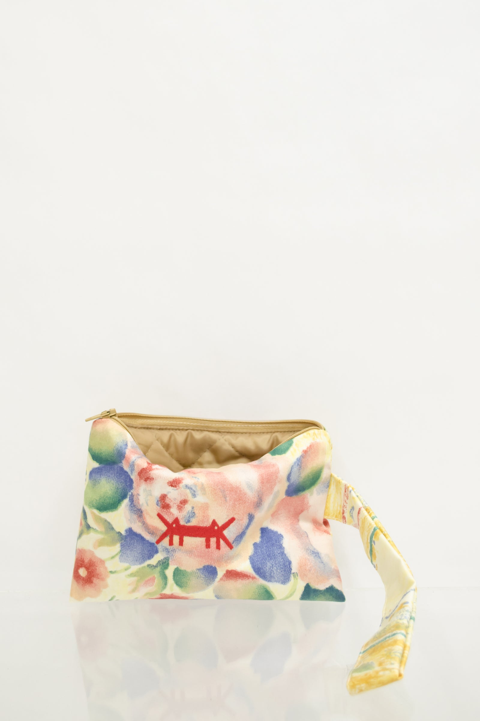 Pouch Midi in Red Watercolor Floral