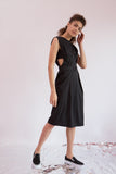 Dress Mihoko in Black Gabardine